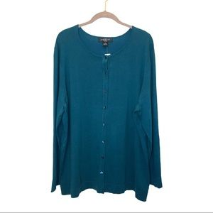 August Silk Turquoise Button Front Cardigan